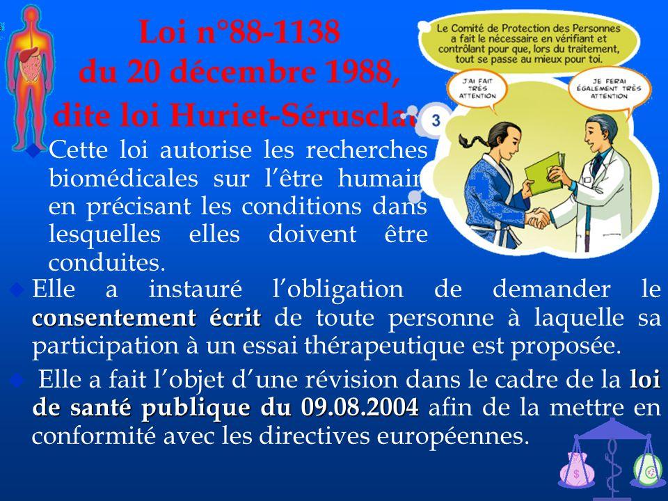 Loi n°88-1138 du 20 décembre 1988, dite loi Huriet-Sérusclat.