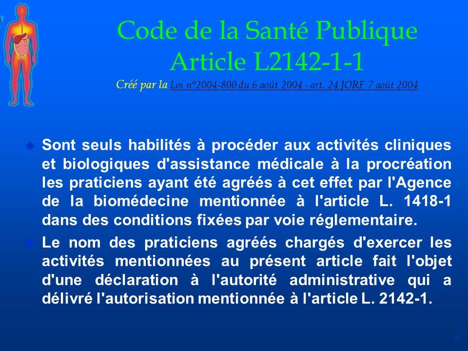 Code de la Santé Publique Article L2142-1-1 Créé par la Loi n°2004-800 du 6 août 2004 - art. 24 JORF 7 août 2004