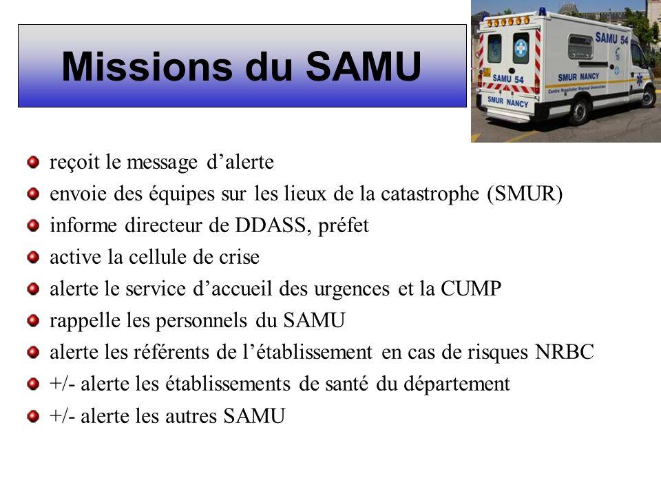 Missions du SAMU reçoit le message d'alerte