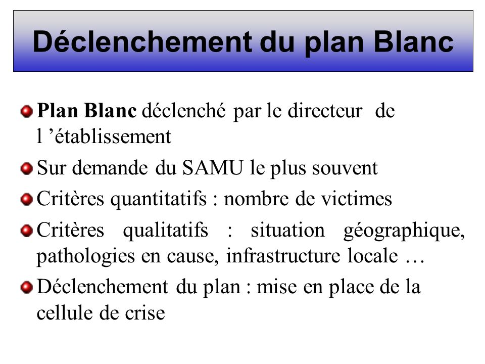 Déclenchement du plan Blanc