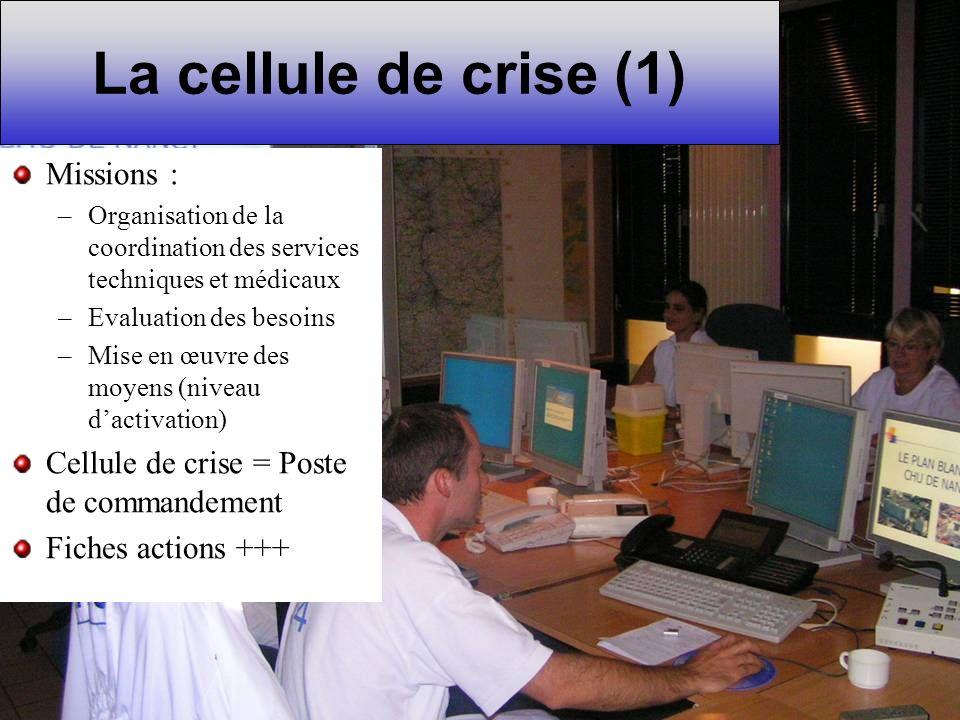 La cellule de crise (1) Missions :