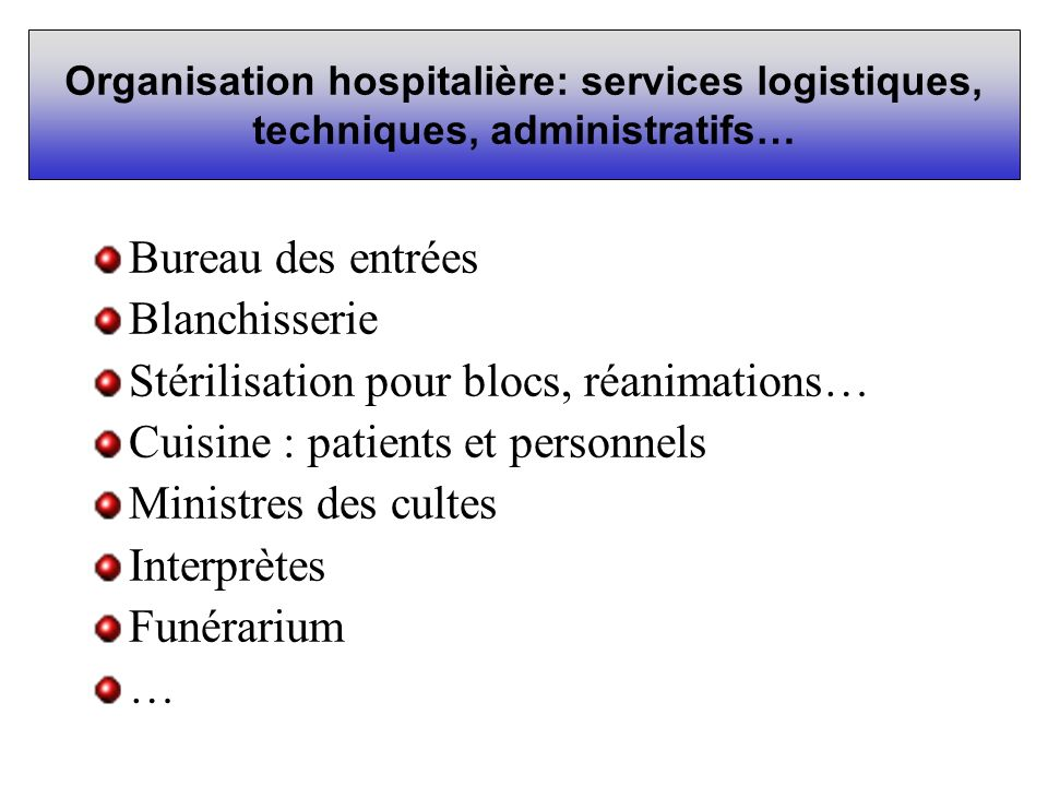 Stérilisation pour blocs, réanimations…