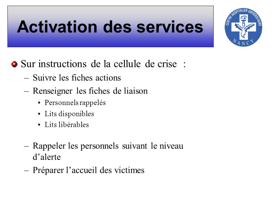Activation des services