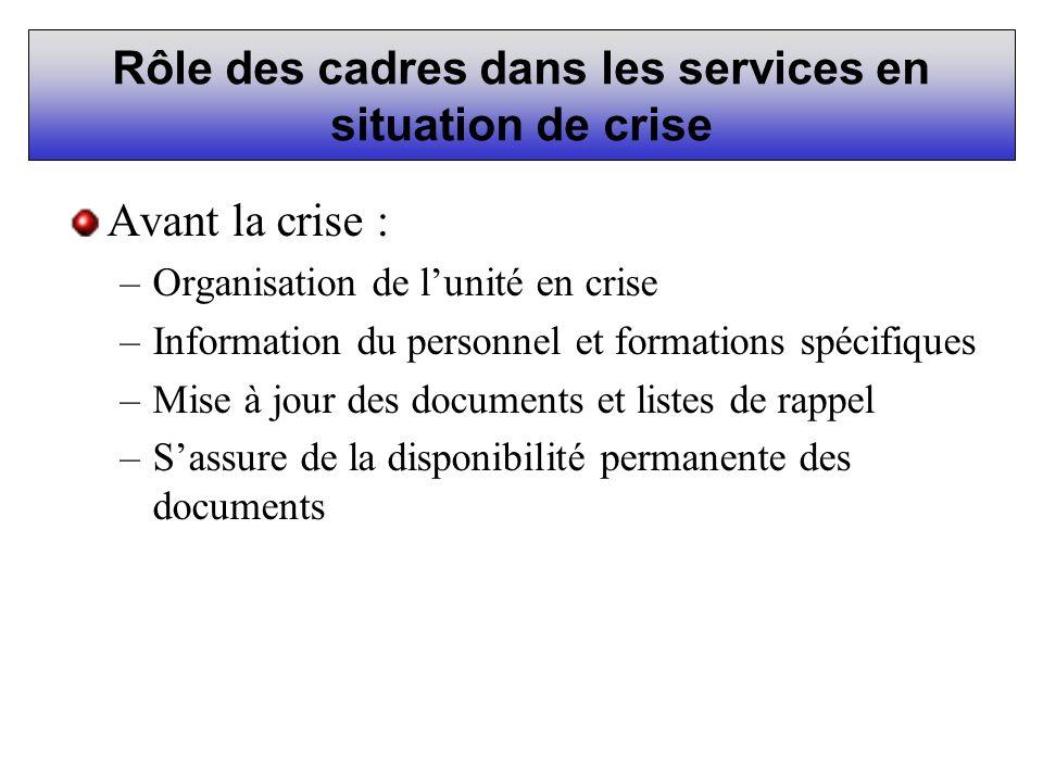 Rôle des cadres dans les services en situation de crise