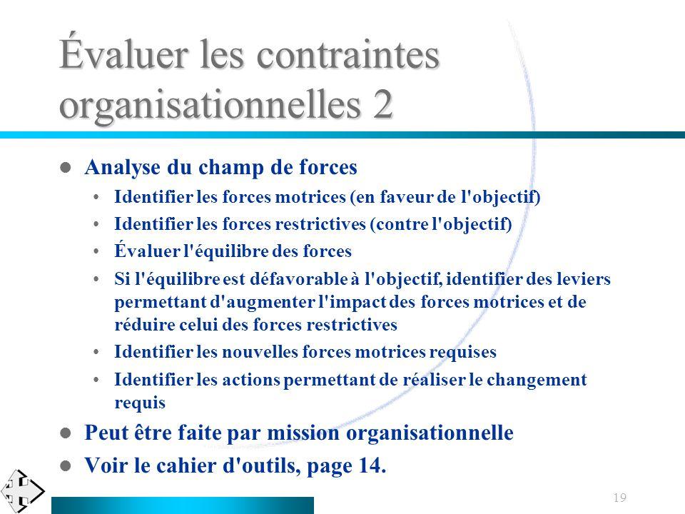 Évaluer les contraintes organisationnelles 2