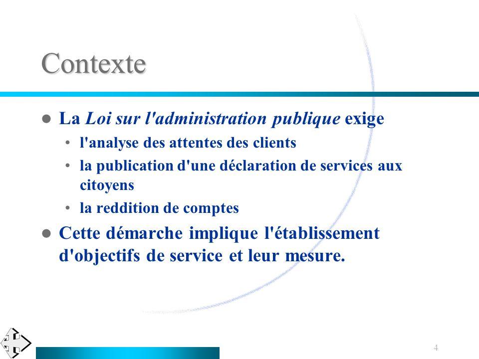 Contexte La Loi sur l administration publique exige