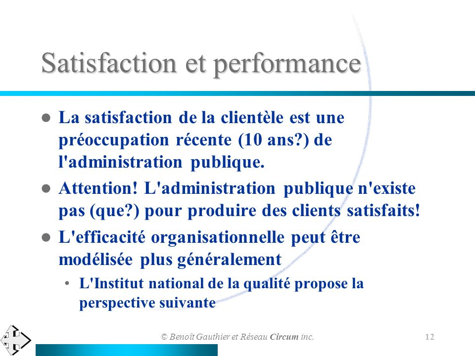 Satisfaction et performance