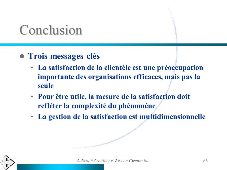 Conclusion Trois messages clés
