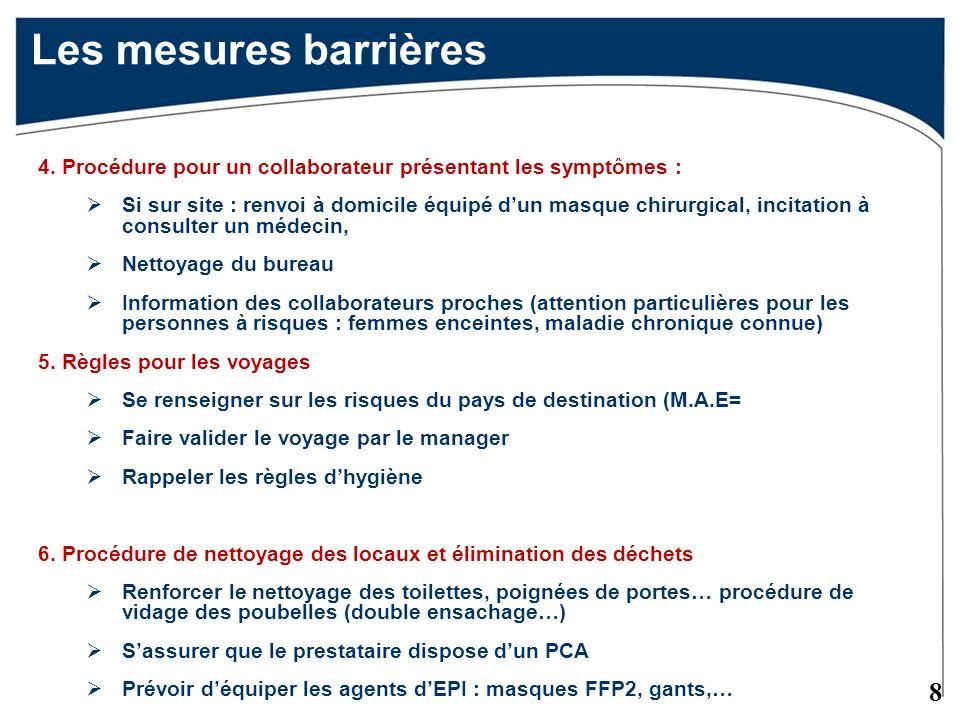 Les mesures barrières 4. Procédure pour un collaborateur présentant les symptômes :