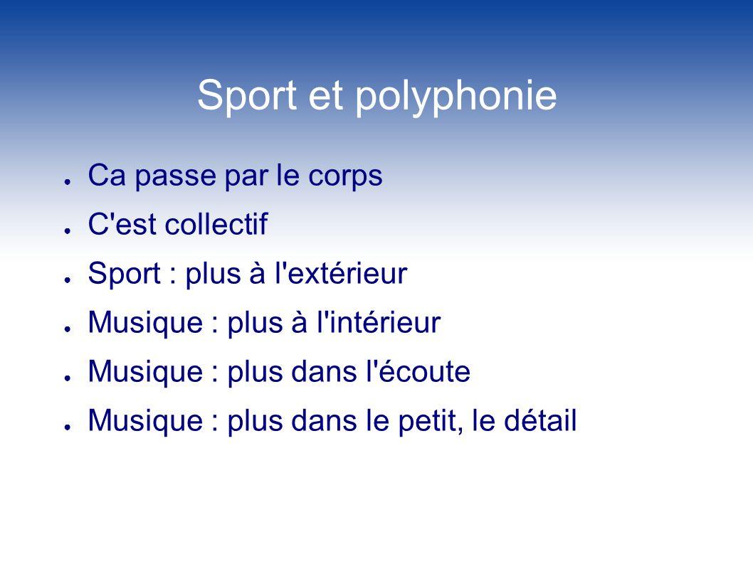 Sport et polyphonie Ca passe par le corps C est collectif