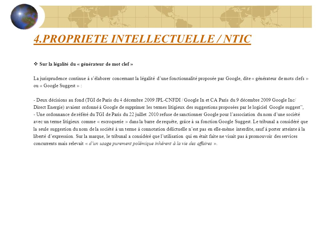 4.PROPRIETE INTELLECTUELLE / NTIC
