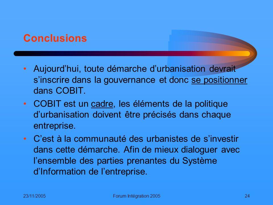 Conclusions Aujourd'hui, toute démarche d'urbanisation devrait s'inscrire dans la gouvernance et donc se positionner dans COBIT.