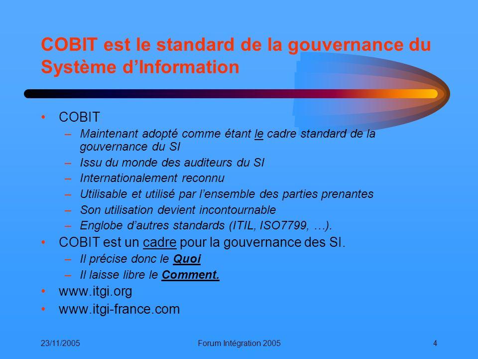 COBIT est le standard de la gouvernance du Système d'Information