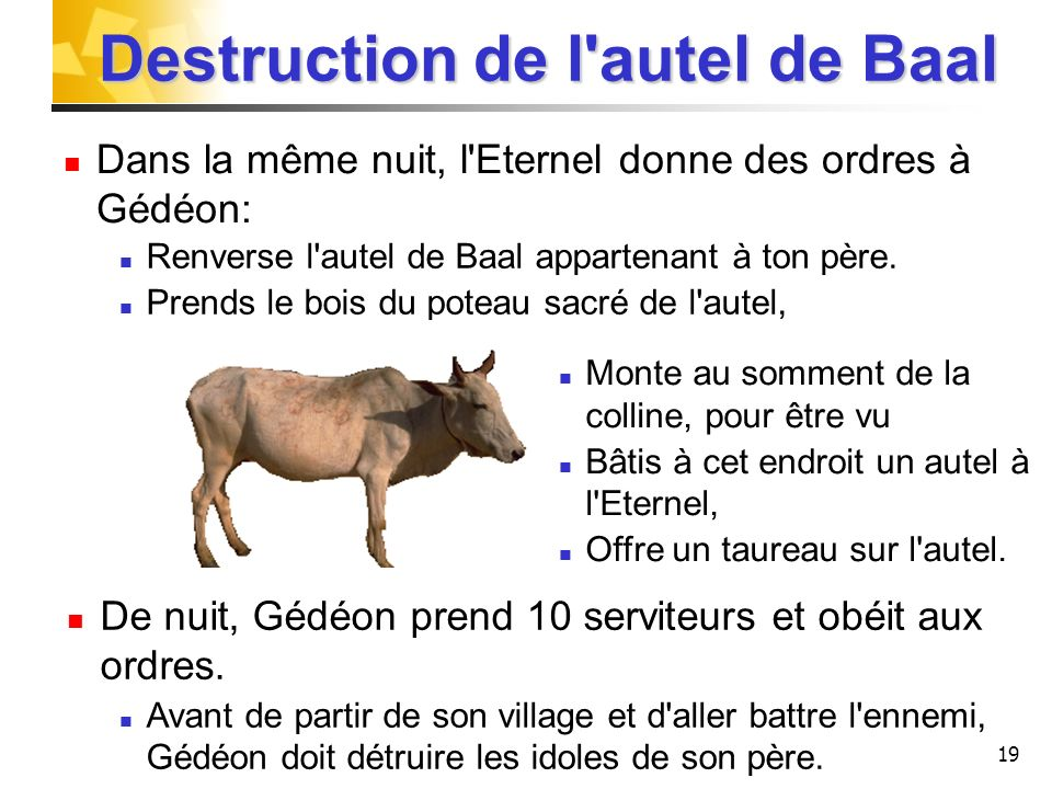 Destruction de l autel de Baal