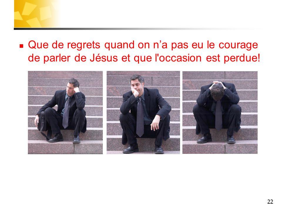 Que de regrets quand on n'a pas eu le courage de parler de Jésus et que l occasion est perdue!