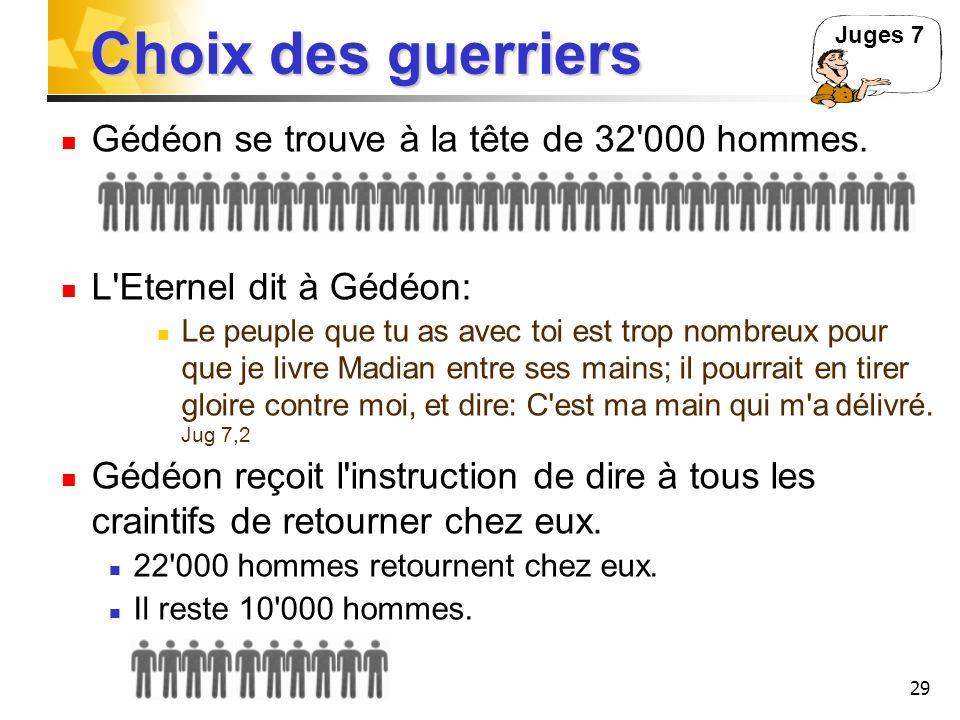 Choix des guerriers Gédéon se trouve à la tête de 32 000 hommes.