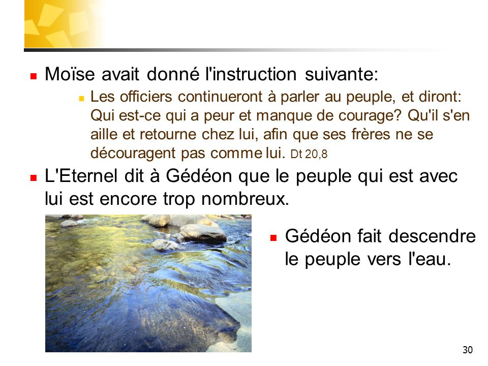Moïse avait donné l instruction suivante: