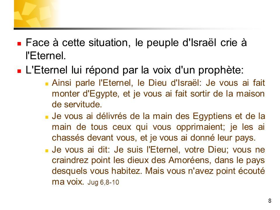 Face à cette situation, le peuple d Israël crie à l Eternel.