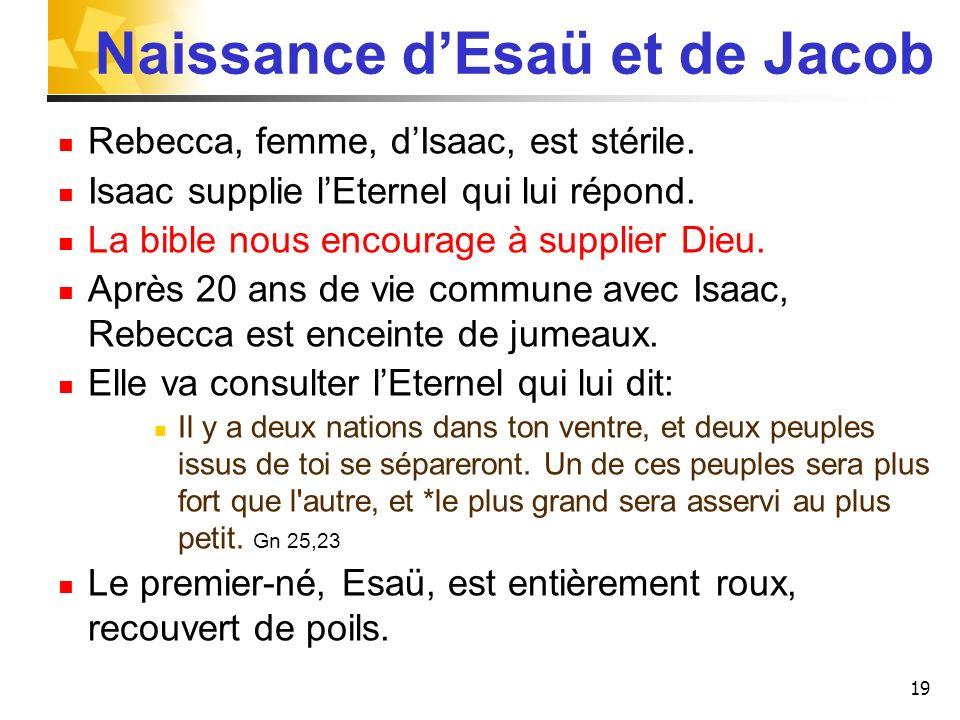 Naissance d'Esaü et de Jacob