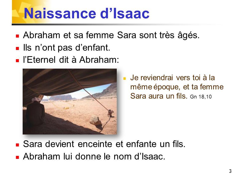 Naissance d'Isaac Abraham et sa femme Sara sont très âgés.