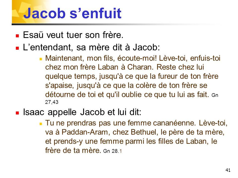 Jacob s'enfuit Esaü veut tuer son frère.