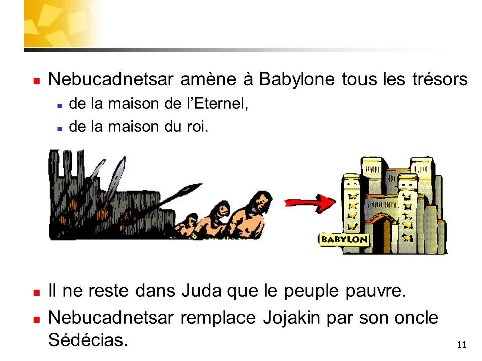 Nebucadnetsar amène à Babylone tous les trésors