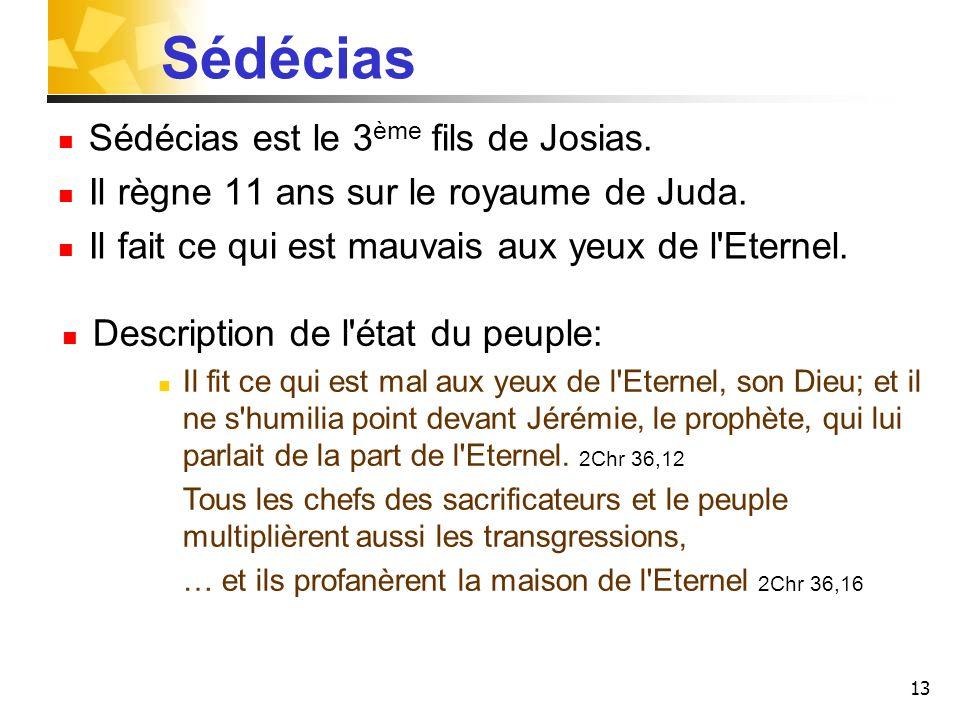 Sédécias Sédécias est le 3ème fils de Josias.