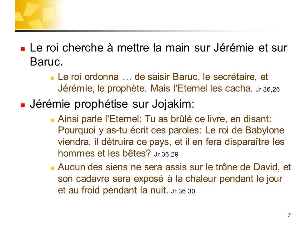 Le roi cherche à mettre la main sur Jérémie et sur Baruc.