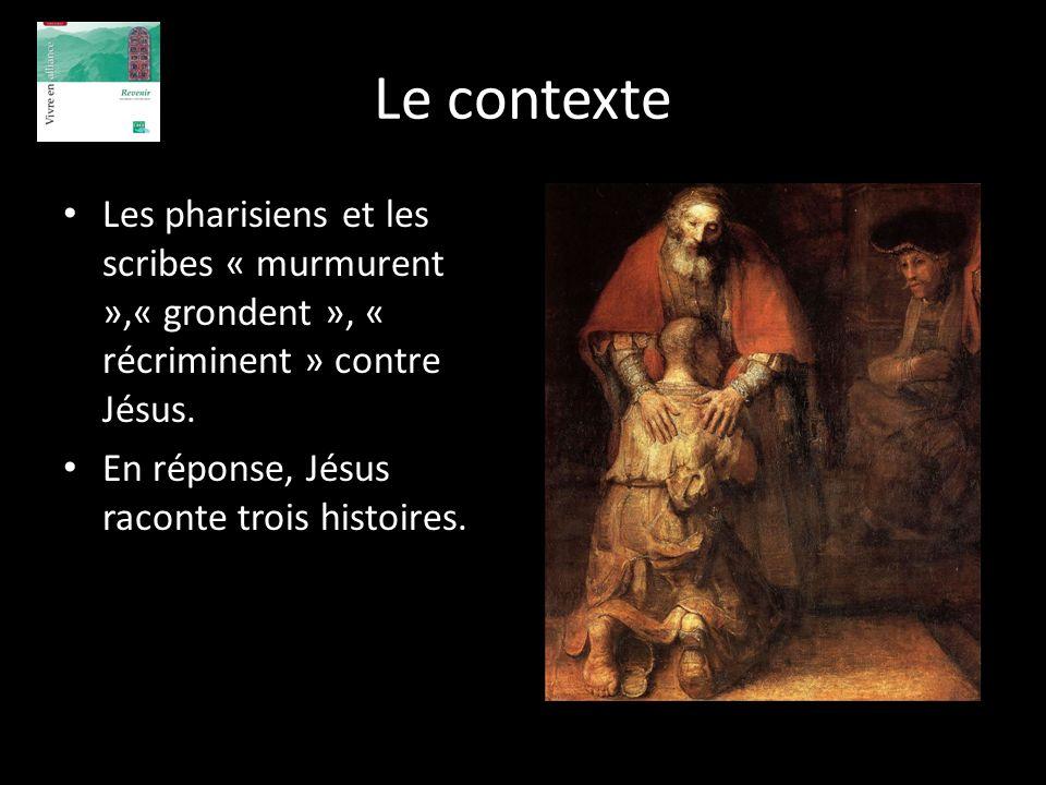 Le contexte Les pharisiens et les scribes « murmurent »,« grondent », « récriminent » contre Jésus.