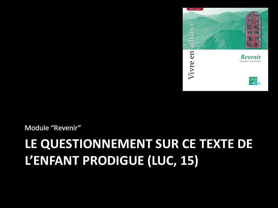 Le questionnement sur ce texte de l'enfant prodigue (luc, 15)