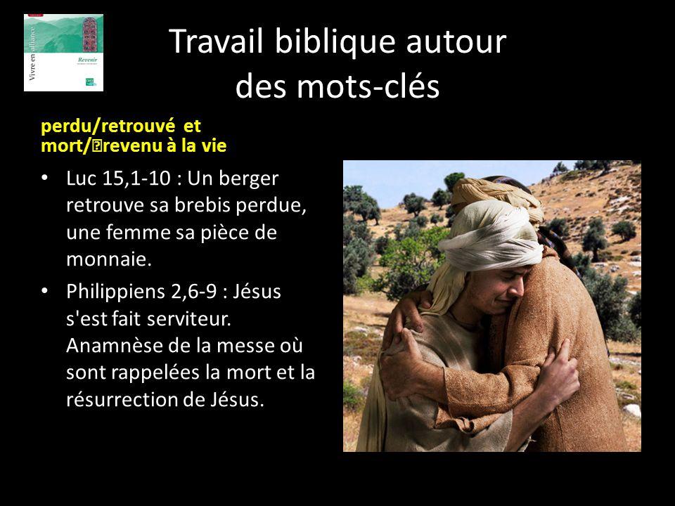 Travail biblique autour des mots-clés