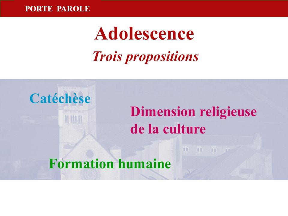 Adolescence Trois propositions Catéchèse