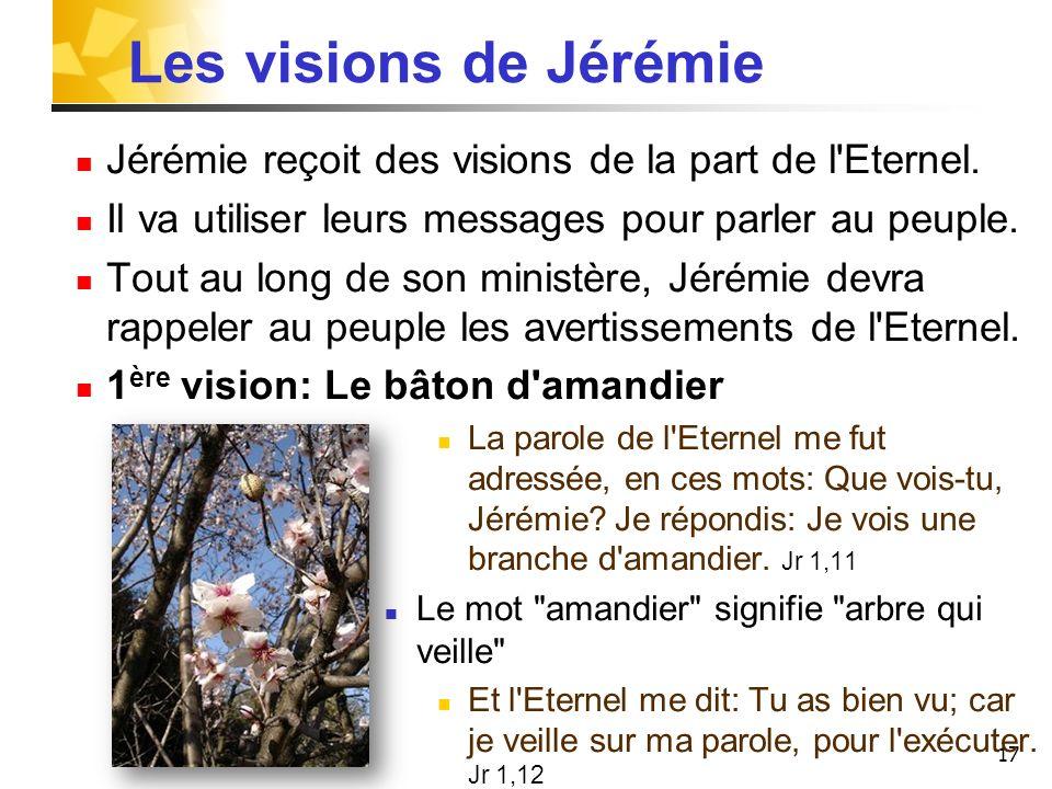 Les visions de JérémieJérémie reçoit des visions de la part de l Eternel. Il va utiliser leurs messages pour parler au peuple.