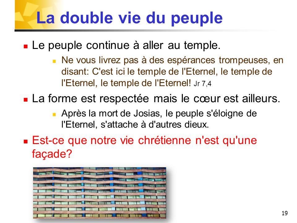 La double vie du peuple Le peuple continue à aller au temple.