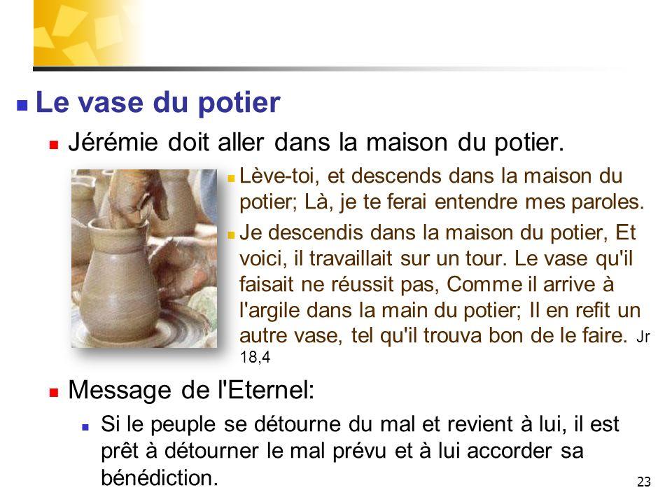Le vase du potier Jérémie doit aller dans la maison du potier.