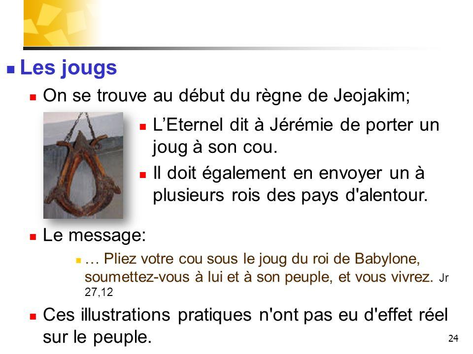 Les jougs On se trouve au début du règne de Jeojakim;
