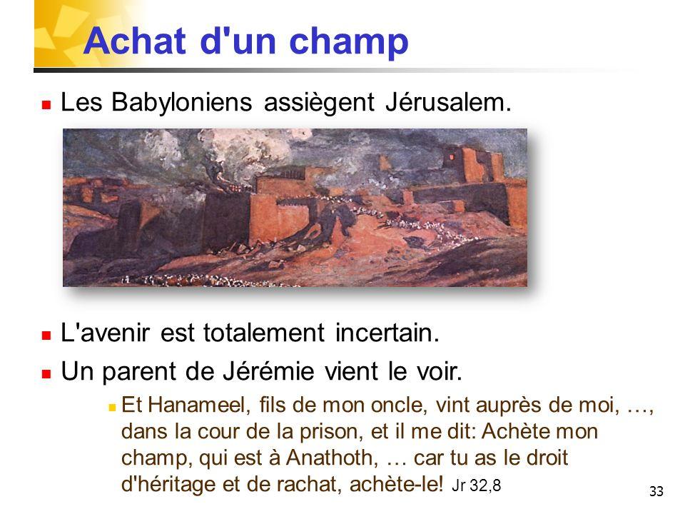 Achat d un champ Les Babyloniens assiègent Jérusalem.