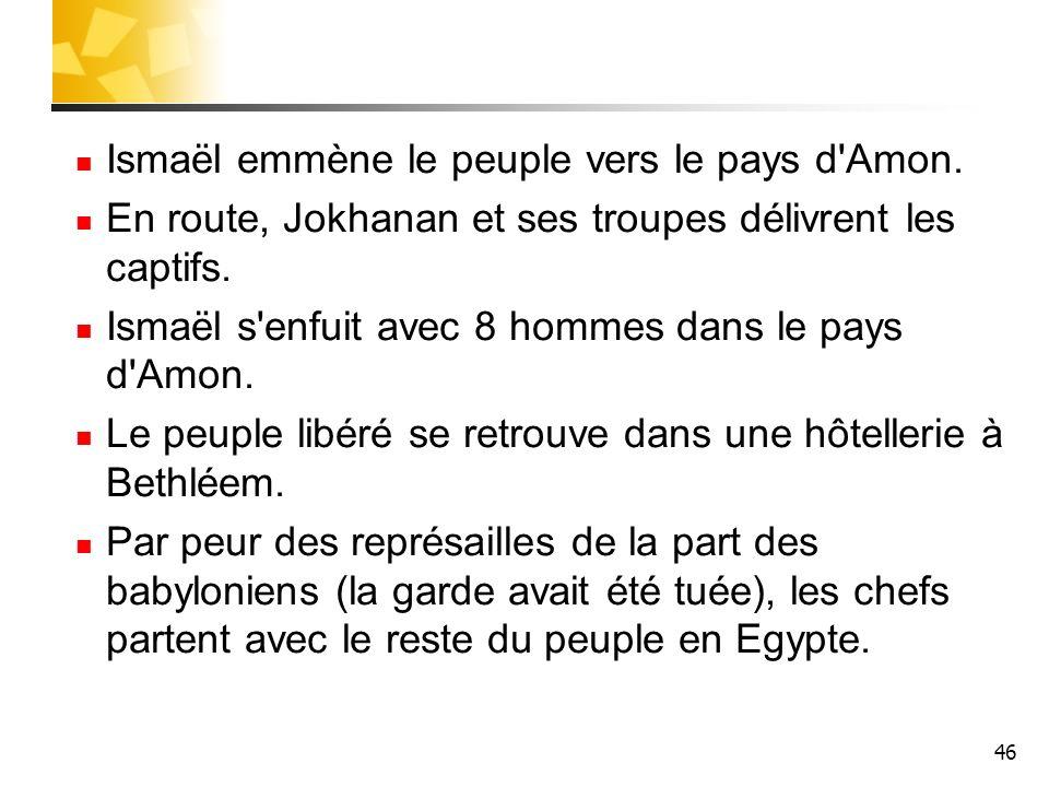 Ismaël emmène le peuple vers le pays d Amon.