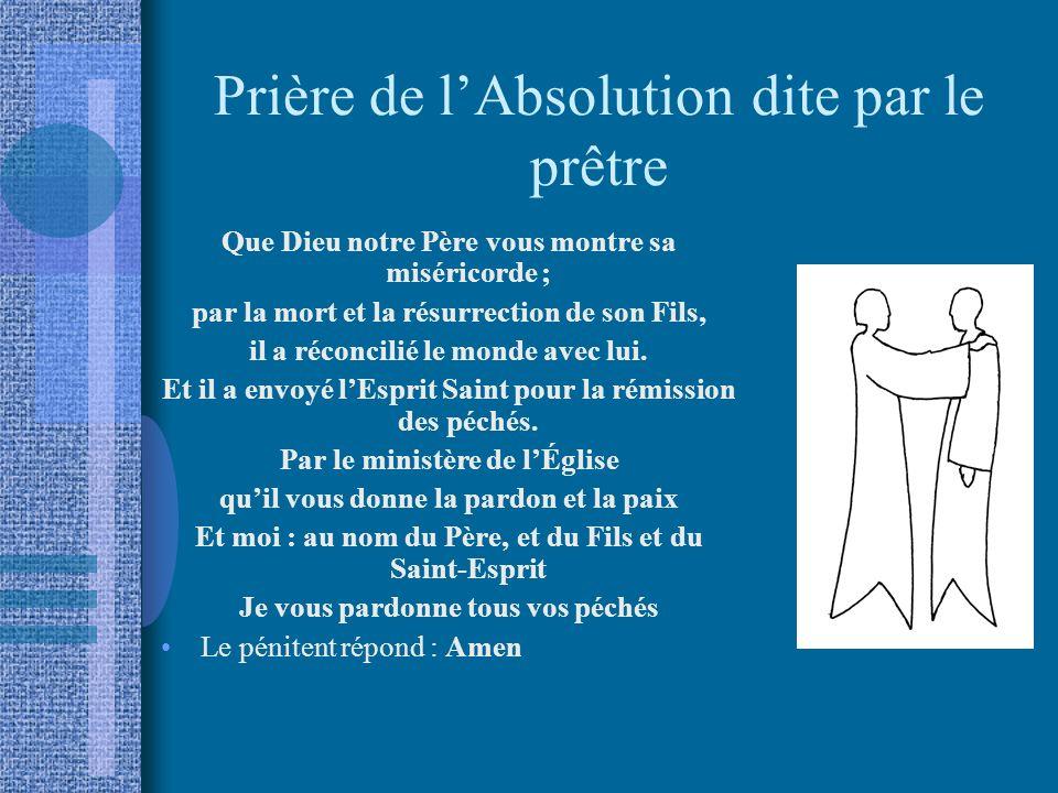 Prière de l'Absolution dite par le prêtre