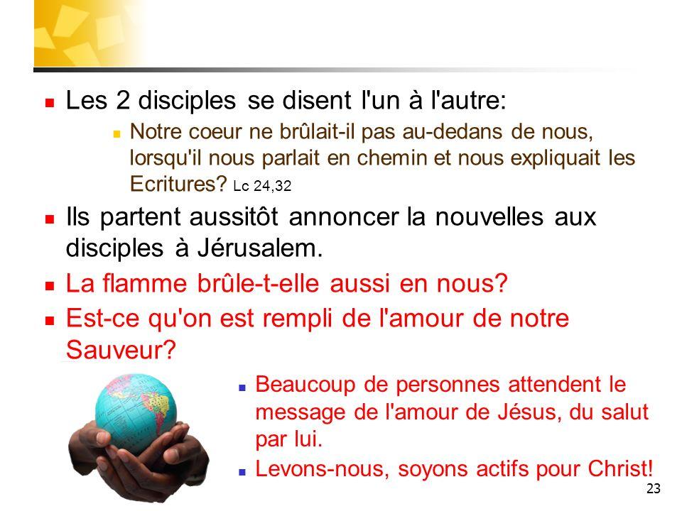 Les 2 disciples se disent l un à l autre: