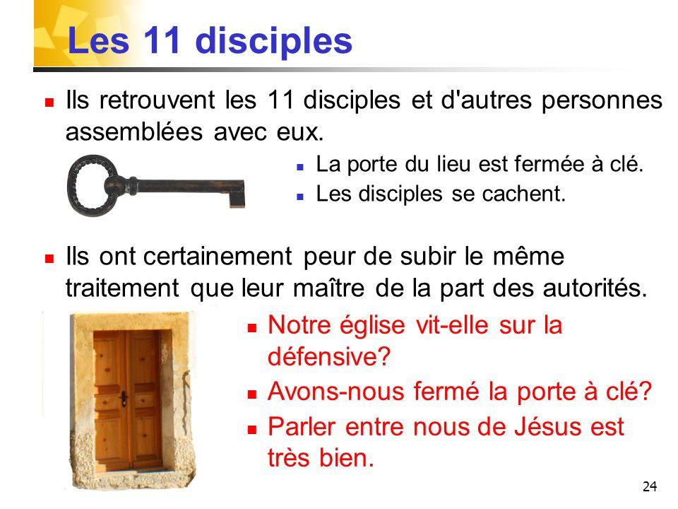 Les 11 disciples Ils retrouvent les 11 disciples et d autres personnes assemblées avec eux. La porte du lieu est fermée à clé.