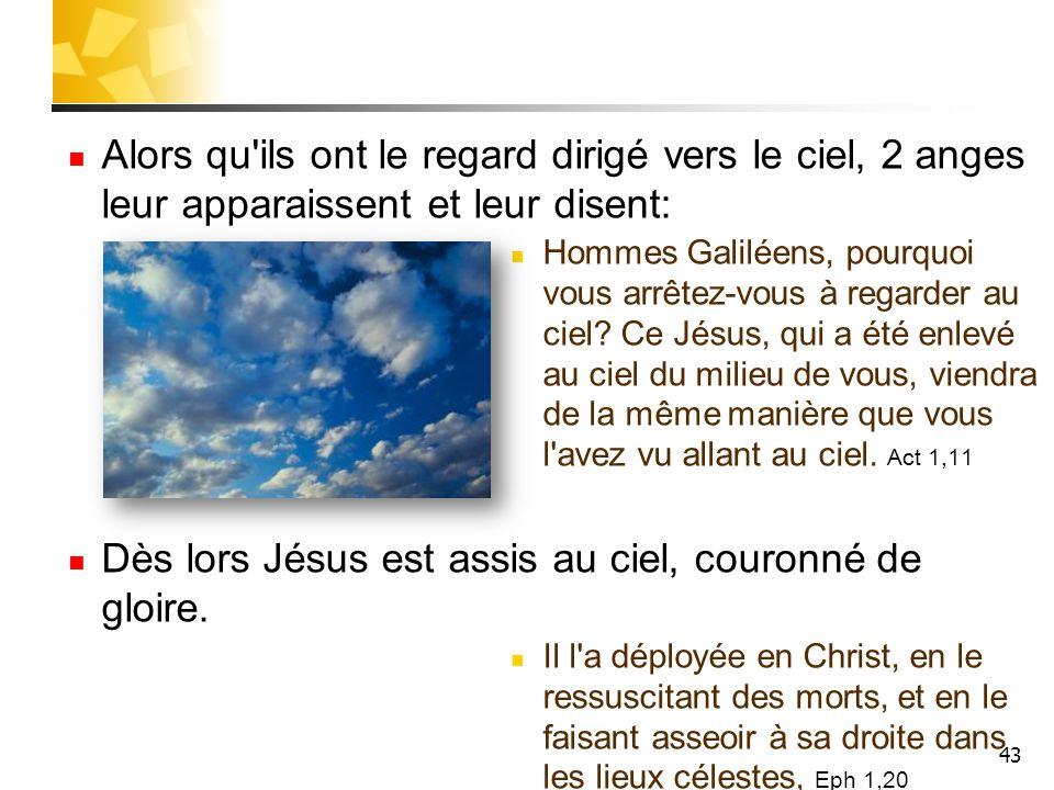 Dès lors Jésus est assis au ciel, couronné de gloire.