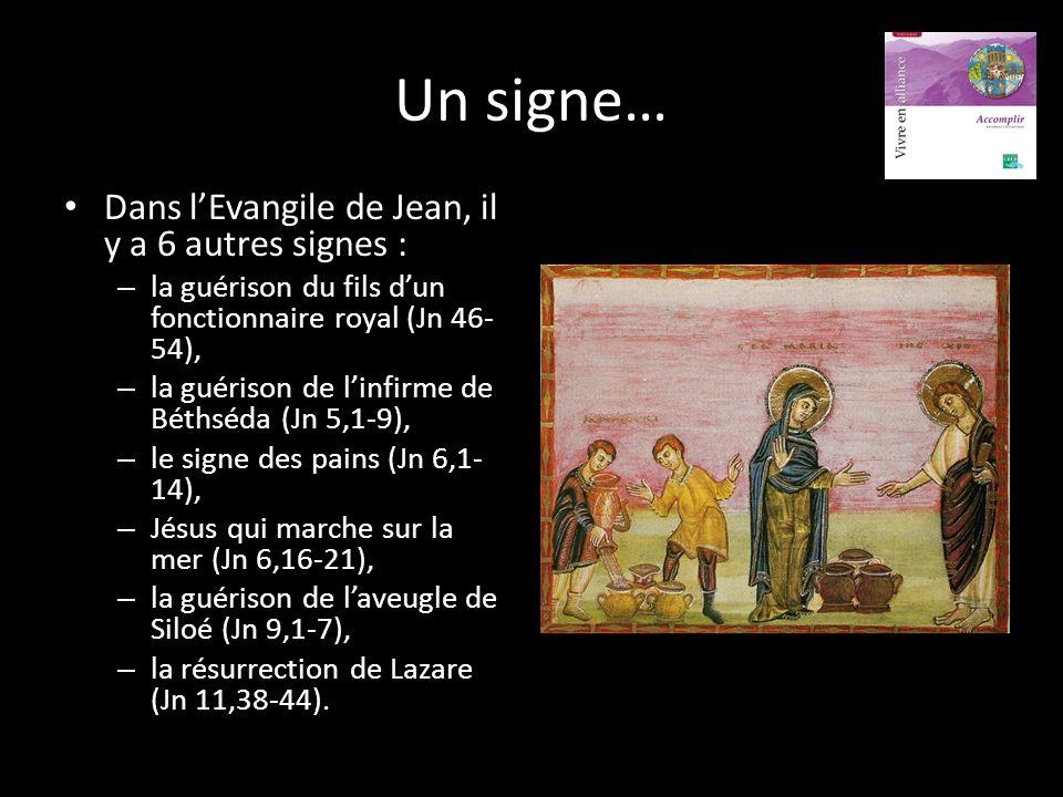 Un signe… Dans l'Evangile de Jean, il y a 6 autres signes :