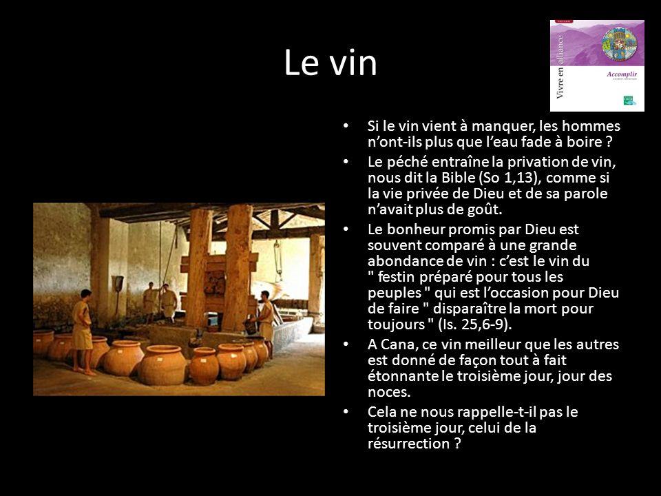 Le vin Si le vin vient à manquer, les hommes n'ont-ils plus que l'eau fade à boire