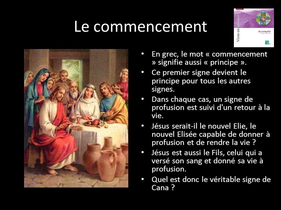 Le commencement En grec, le mot « commencement » signifie aussi « principe ». Ce premier signe devient le principe pour tous les autres signes.