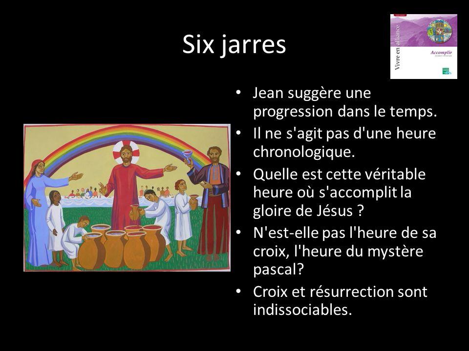 Six jarres Jean suggère une progression dans le temps.