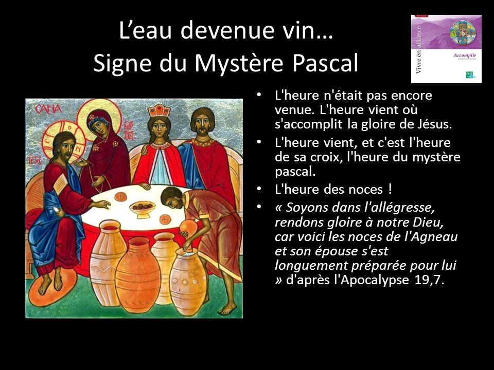 L'eau devenue vin… Signe du Mystère Pascal