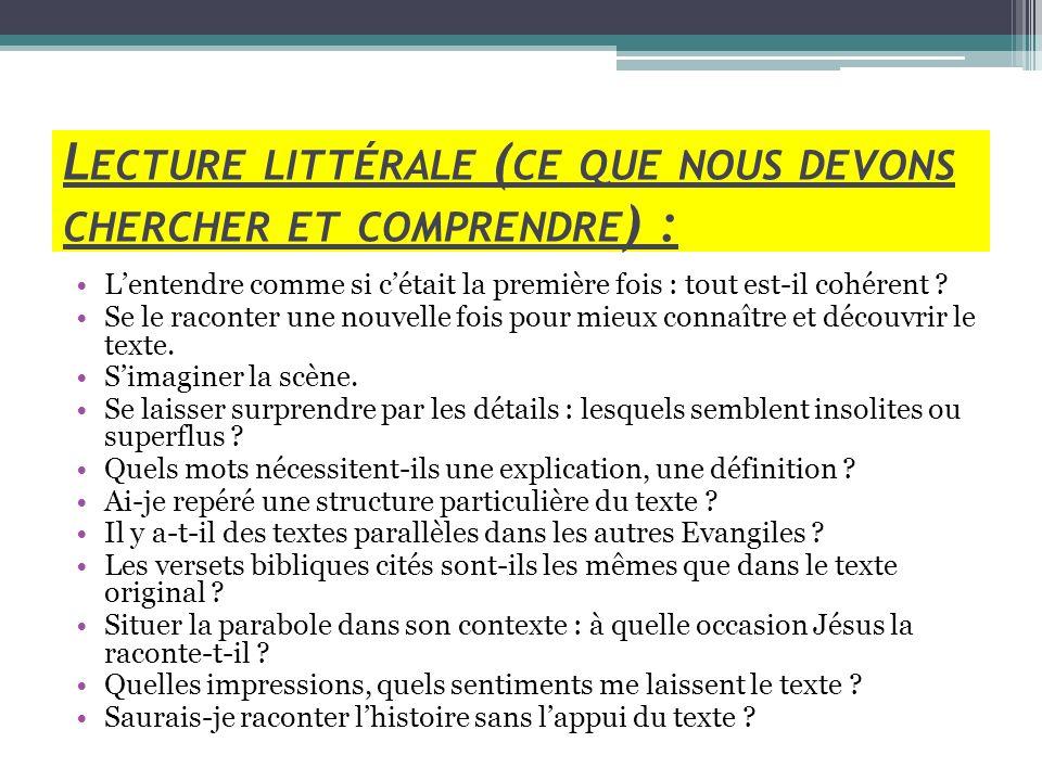 Lecture littérale (ce que nous devons chercher et comprendre) :