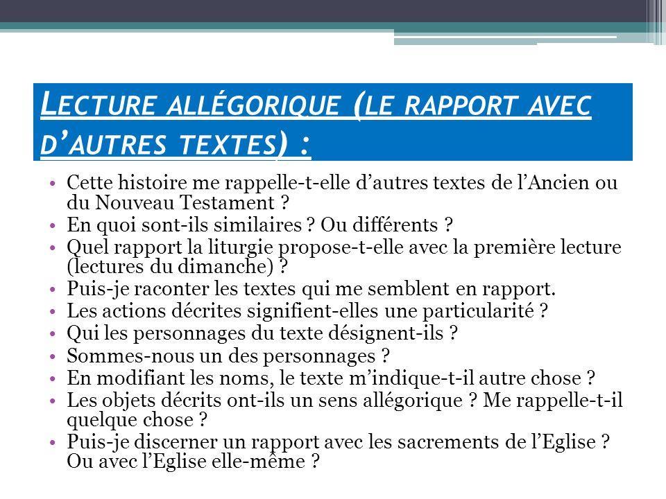 Lecture allégorique (le rapport avec d'autres textes) :