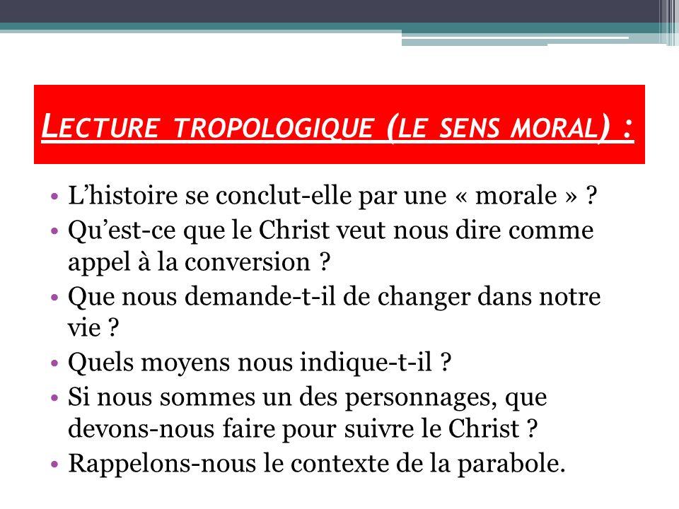 Lecture tropologique (le sens moral) :